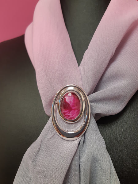 Oval scarf ring complete with chiffon scarf