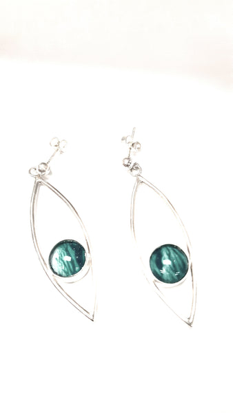 Sterling Silver fish eye drop earrings