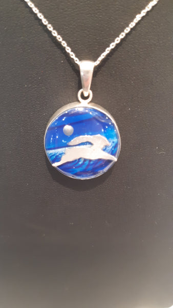 Sterling Leaping Hare Pendant