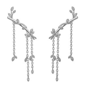 Jungle Ivy earring sparkle large - silver