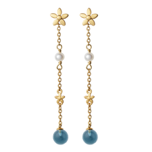 Load image into Gallery viewer, Posy earhanger blue - gold