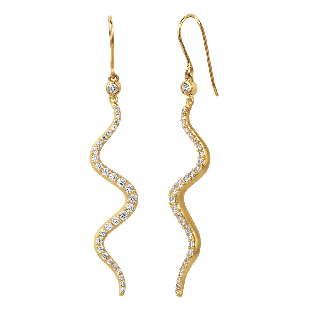 Wave sparkle earrings - gold