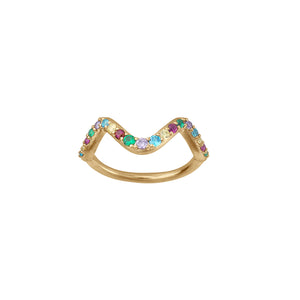 Wave rainbow ring small