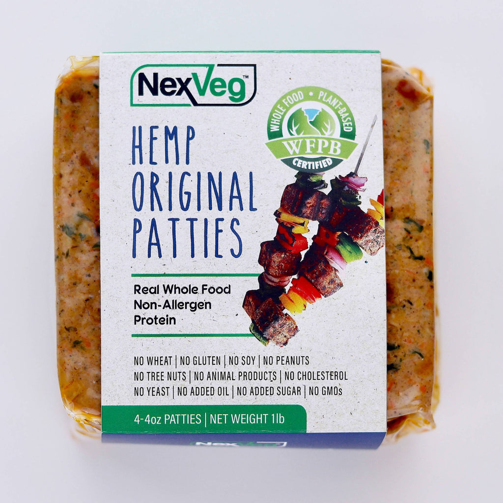 2 Pack 4 oz. NexVeg Hemp & Seed Original Patties Plant based protein NexVeg