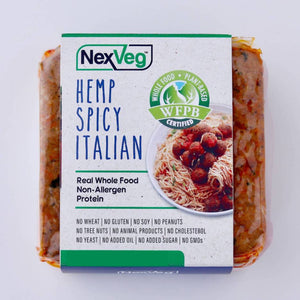 2 Pack 4 oz. NexVeg Hemp & Seed Spicy Italian Patties Plant based protein NexVeg