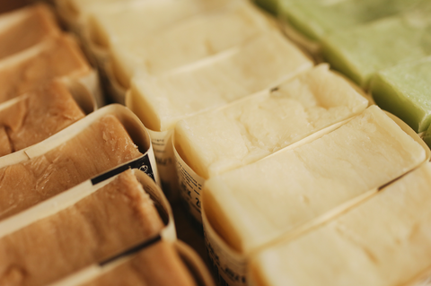 rows of soap shampoo and conditioner bars