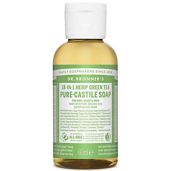 Dr. Bronner's 18-in-1 Green Tea Pure Castile Liquid Soap - 59ml