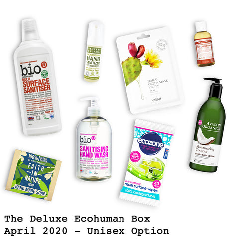 The Deluxe Ecohuman Monthly Subscription Box. Always vegan and cruelty free. April 2020 past box