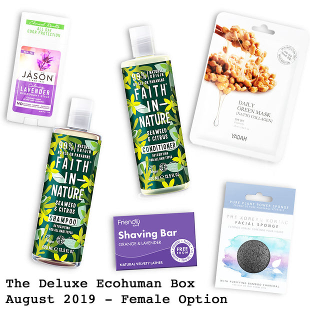 The Deluxe Ecohuman Prepaid Monthly Subscription Box. Always vegan and cruelty free. August 2019 past box