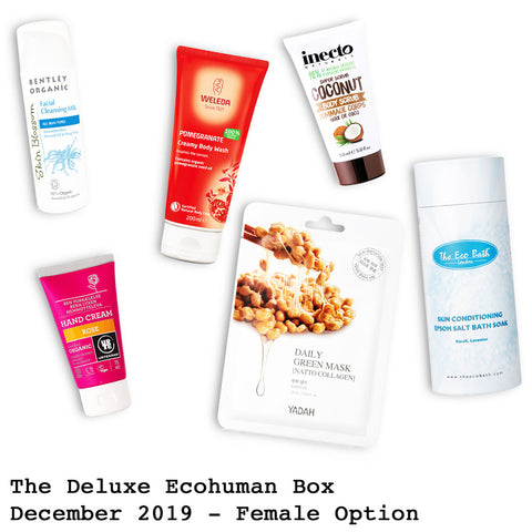The Deluxe Ecohuman Prepaid Monthly Subscription Box. Always vegan and cruelty free. December 2019 past box