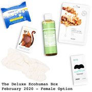 The Deluxe Ecohuman Monthly Subscription Box. Always vegan and cruelty free. February 2020 past box