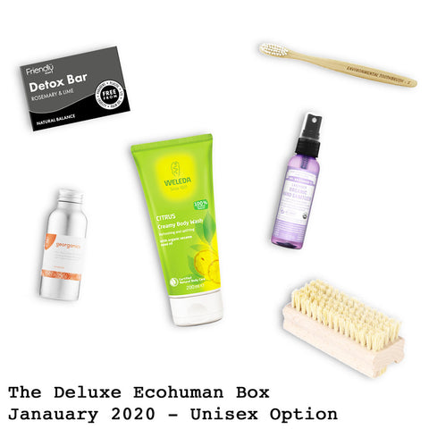 The Deluxe Ecohuman Prepaid Monthly Subscription Box. Always vegan and cruelty free. January 2020 past box