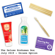 The Deluxe Ecohuman Prepaid Monthly Subscription Box. Always vegan and cruelty free. July 2019 past box
