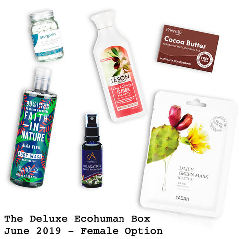The Deluxe Ecohuman Monthly Subscription Box. Always vegan and cruelty free. June 2019 past box
