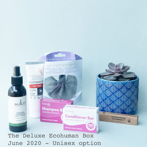 The Deluxe Ecohuman Monthly Subscription Box. Always vegan and cruelty free. June 2020 past box