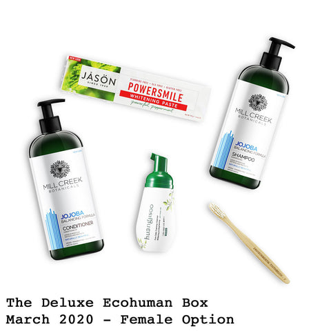 The Deluxe Ecohuman Monthly Subscription Box. Always vegan and cruelty free. March 2020 past box