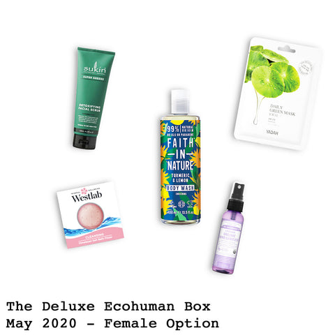 The Deluxe Ecohuman Monthly Subscription Box. Always vegan and cruelty free. May 2020 past box