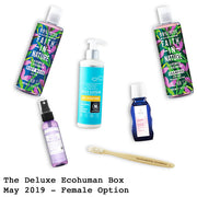 The Deluxe Ecohuman Prepaid Monthly Subscription Box. Always vegan and cruelty free. May 2019 past box