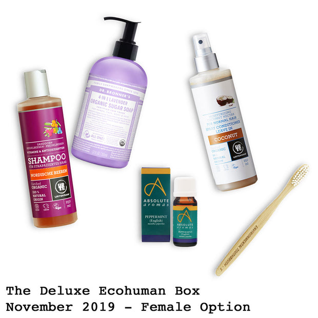 The Deluxe Ecohuman Prepaid Monthly Subscription Box. Always vegan and cruelty free. November 2019 past box
