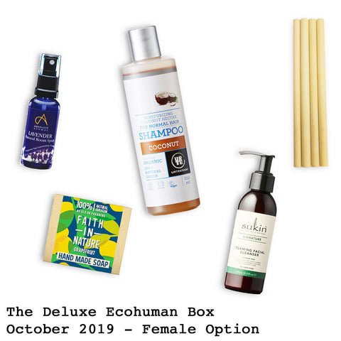 The Deluxe Ecohuman Monthly Subscription Box. Always vegan and cruelty free. October 2019 past box