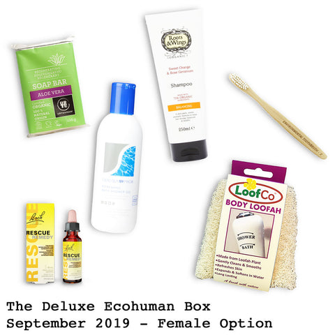 The Deluxe Ecohuman Monthly Subscription Box. Always vegan and cruelty free. September 2019 past box