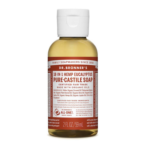 Dr. Bronner's 18-in-1 Eucalyptus Pure Castile Liquid Soap - 59ml