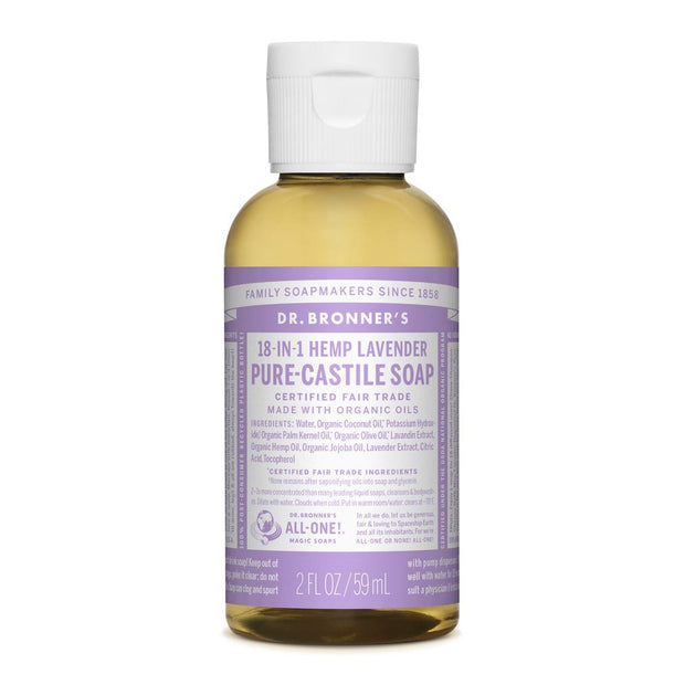 Dr. Bronner's 18-in-1 Lavender Pure Castile Liquid Soap - 59ml