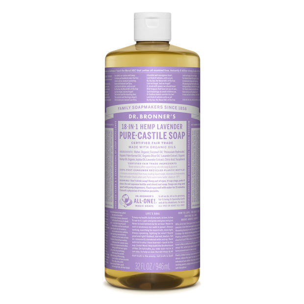 Dr. Bronner's 18-in-1 Lavender Pure Castile Liquid Soap 946ml