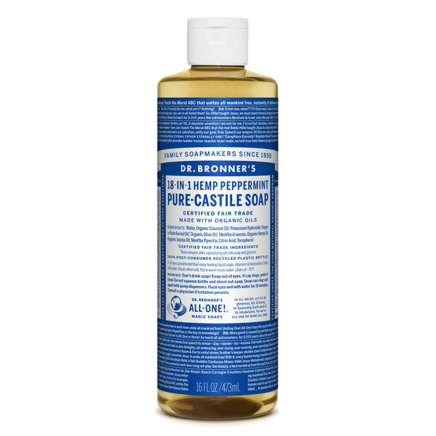 Dr. Bronner's 18-in-1 Peppermint Pure Castile Liquid Soap  472ml
