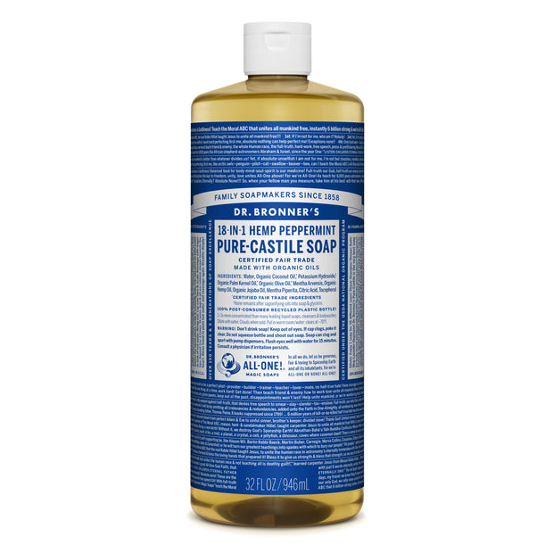 Dr. Bronner's 18-in-1 Peppermint Pure Castile Liquid Soap  946ml
