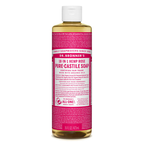 Dr. Bronner's 18-in-1 Rose Pure Castile Liquid Soap  472ml