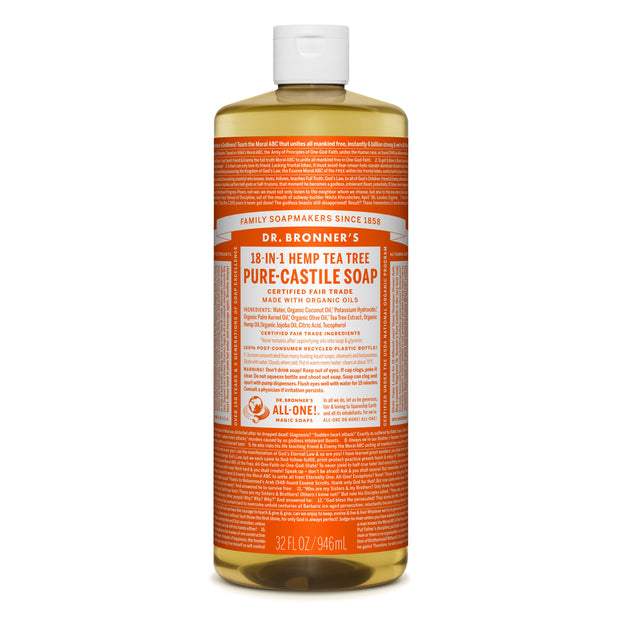 Dr. Bronner's 18-in-1 Tea Tree Pure Castile Liquid Soap 946ml