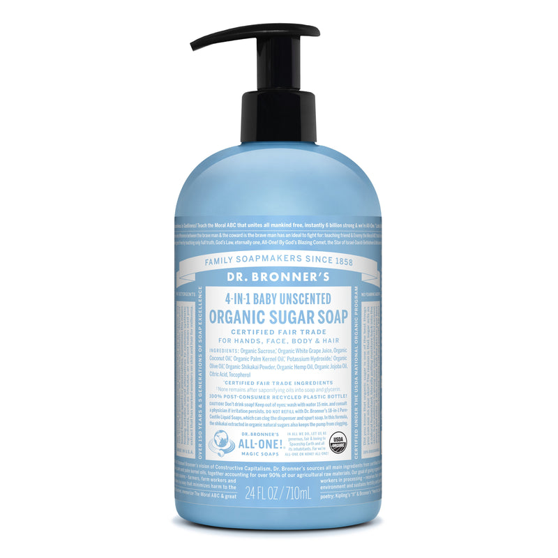 Dr. Bronner's 4-in-1 Baby Mild Organic Sugar Pump Soap  710ml