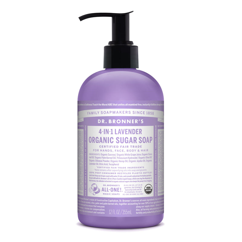 Dr. Bronner's 4-in-1 Lavender Organic Sugar Pump Soap  355ml