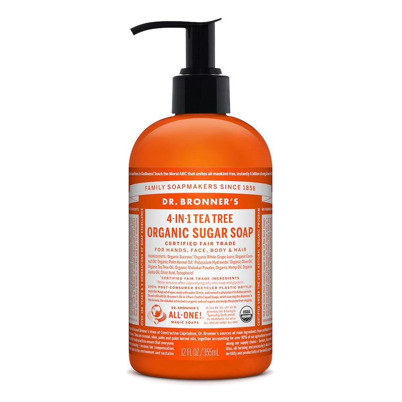 Dr. Bronner's 4-in-1 Tea Tree Organic Sugar Pump Soap 355ml
