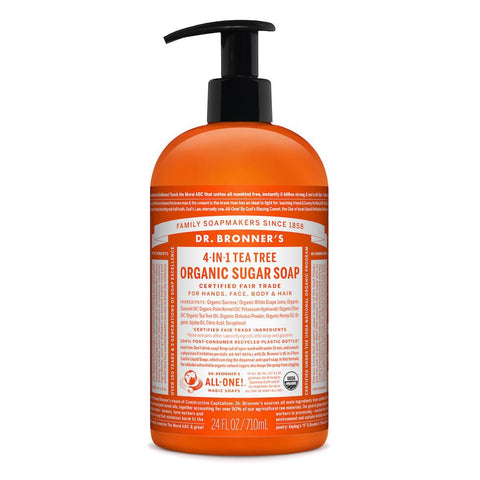 Dr. Bronner's 4-in-1 Tea Tree Organic Sugar Pump Soap 710ml