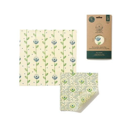 The Food Wrap Co. Vegan Wax Wraps – Harvest Print - 2 pack