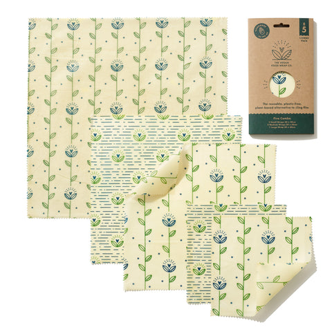 The Food Wrap Co. Vegan Wax Wraps – Harvest Print - 5 pack