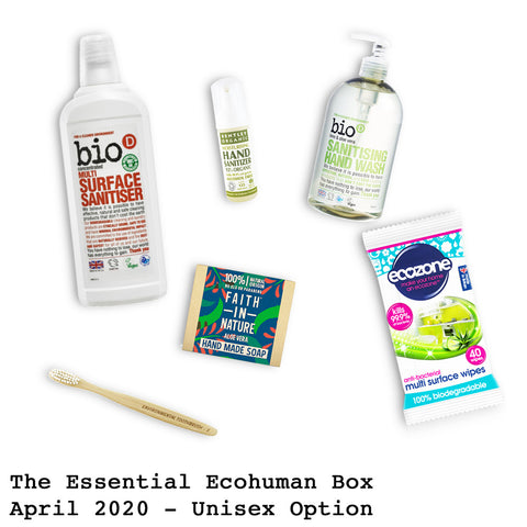 The Essential Ecohuman Monthly Subscription Box. Always vegan and cruelty free. April 2020 past box