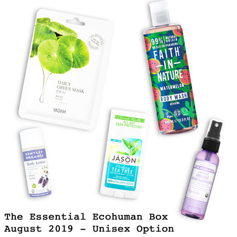 The Essential Ecohuman Monthly Subscription Box. Always vegan and cruelty free. August 2019 past box