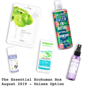 The Essential Ecohuman Prepaid Monthly Subscription Box. Always vegan and cruelty free. August 2019 past box