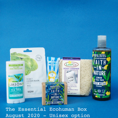 The Essential Ecohuman Monthly Subscription Box. Always vegan and cruelty free. August 2020 past box