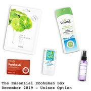 The Essential Ecohuman Monthly Subscription Box. Always vegan and cruelty free. December 2019 past box