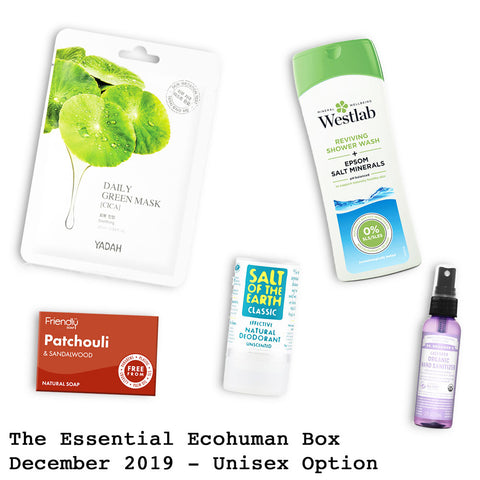The Essential Ecohuman Prepaid Monthly Subscription Box. Always vegan and cruelty free. December 2019 past box