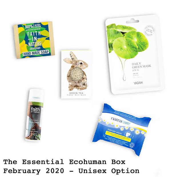 The Essential Ecohuman Monthly Subscription Box. Always vegan and cruelty free. February 2020 past box