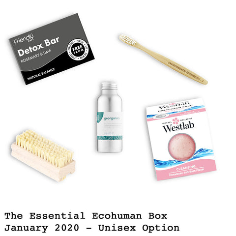 The Essential Ecohuman Prepaid Monthly Subscription Box. Always vegan and cruelty free. January 2020 past box