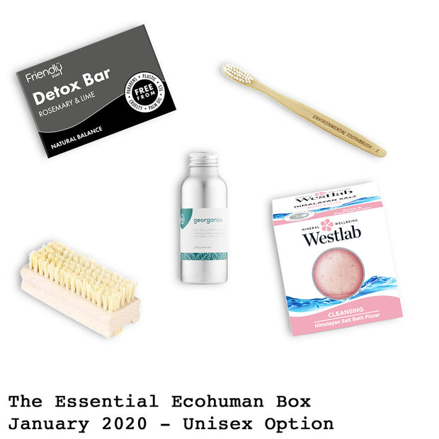 The Essential Ecohuman Prepaid Monthly Subscription Box. Always vegan and cruelty free. January 2020 past box.
