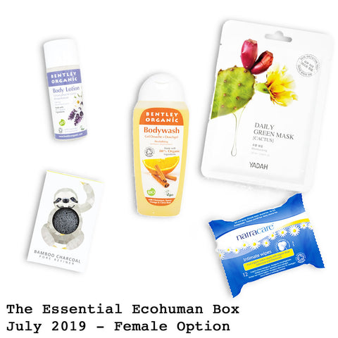 The Essential Ecohuman Prepaid Monthly Subscription Box. Always vegan and cruelty free. July 2019 past box