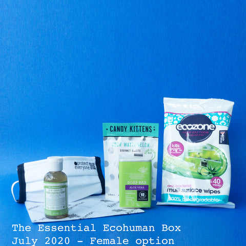 The Essential Ecohuman Monthly Subscription Box. Always vegan and cruelty free. July 2020 past box