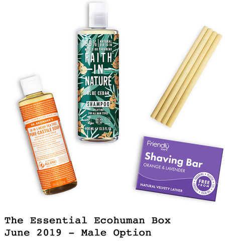 The Essential Ecohuman Prepaid Monthly Subscription Box. Always vegan and cruelty free. June 2019 past box